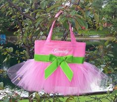 TooToo Cute Boutique -  Pink and Lime Green Mini Tutu Tote Bag-