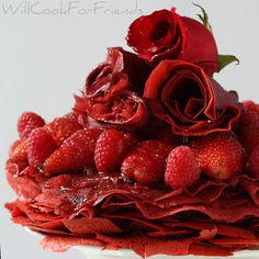 elegant red velvet crepe cake.... pancak, food, crepes, crepe cake, red velvet, wedding cakes, red roses, velvet crepe, dessert