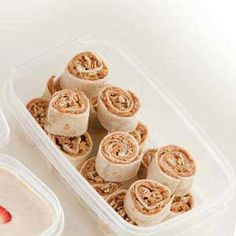 Kid Friendly Peanut Butter Pinwheels  •4 tablespoons creamy peanut butter  •2 flour tortillas (8 inches)  •2 teaspoons honey  •1/2 cup granola without raisins  add choice of jam/jelly for variety of flavors.