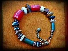 african TRIBAL BRACELET red CORAL sundance bracelet by anainc