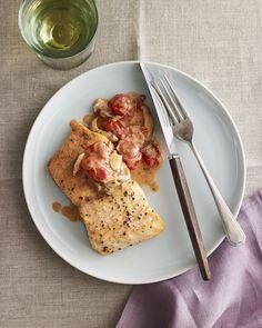 Broiled Salmon in Mushroom and Tomato Cream Sauce