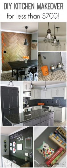 WOW! Budget kitchen makeover by Designer Trapped in a Lawyer's Body. Totally transformed with PAINT including the Hollywood Squares stencil from Royal Design Studio! #kitchenmakeover