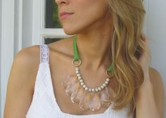 Green Statement Bib Necklace with Jersey Tie & Gold Crackle Beads.