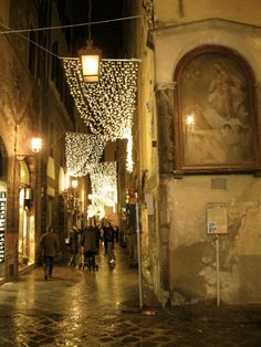Walking the narrow streets of Florence at night.