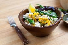 Quinoa with Baby Squashes, Basil, and French Feta Cheese via Blue Apron Meals | Two types of squash (pattypan and zucchini), basil, and lemon lend plenty of summery color and flavor to this gluten-free grain salad.