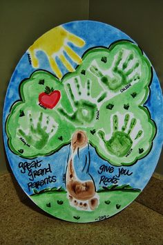 Bless Our Nest: very sweet grandparent or great-grandparent gift idea using the grandkids hand and foot prints on a canvas