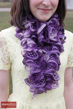 Easy Knitted Ruffled Scarf With Sashay Yarn from #WalmartMom Amy