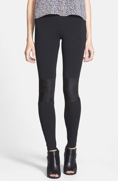 Trending - faux suede panel leggings.