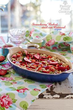 Strawberry Baked Steel Cut Oatmeal | recipe on FamilyFreshCooking.com | vegan & gluten free