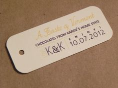 Wedding Favor Tag / Hang Tag / Sweet Treat from Home / Gift  or Holiday / Business / Corporate Tag Welcome Label from Darby Cards. %s%.45, via Etsy.