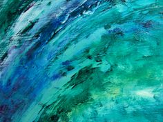 Abstract Painting: Black, Cobalt Blue & Mint Green