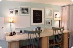 craft room--I like the frames on the wall