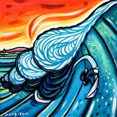 "Phillip Morrison - ""Celtic Surfer"" SOLD | Daily Surf Art"