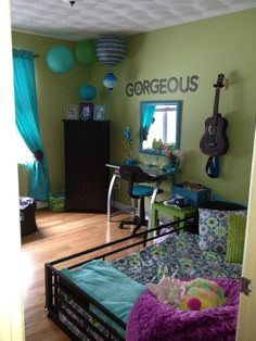 Turquoise, green and purple girls bedroom