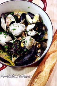 easy recipe for steamed mussels + clams | via vmac+cheese