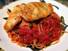 Ocean Club Chicken | Plain Chicken - Parmesan Chicken with Tomato Caper Sauce - skip the sugar and use crushed pork rinds instead of the flour and serve over spiral cut zucchini noodles