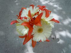 possible bridesmaid bouquet of coral asiatic lilies and ivory gerber daisies