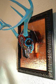 Mosaic Deer Skull Antlers European Mount Sugar Skull by GlassByKat