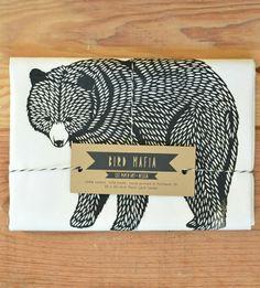 bear towel gift, bear tea, tea towels, bears, dish towels, bear illustration, print