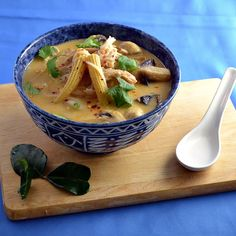 An easy recipe for tom kha gai (Thai coconut chicken soup) using rotisserie chicken.