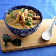 An easy recipe for tom kha gai (Thai coconut chicken soup) using rotisserie chicken.