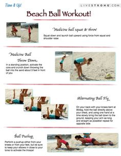 The Tone It Up BeachBall workout routine! Get more printable workouts, healthy delicious recipes, and the motivation to put it all to good use at toneitup.com