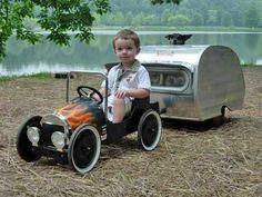 Cute. All of it..  #jorgenca airstream, campers, pedal cars, minis, dog, hot rods, the road, camping trailers, kid