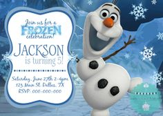 Boy or Girl Disney Frozen Princess Olaf Birthday Invitation