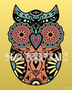 sample+drawings+of+skulls | Print Sugar Skull Style Owl Day of the Dead Artwork Design Cute Color ...