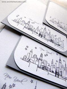 new york city skyline notecards