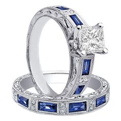 Princess diamond engagement ring with sapphire accents.