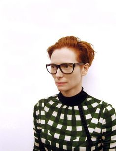 Tilda! great outfit too charm, peopl, fashion, red, tilda swinton glasses, style icons, films, hair, portrait
