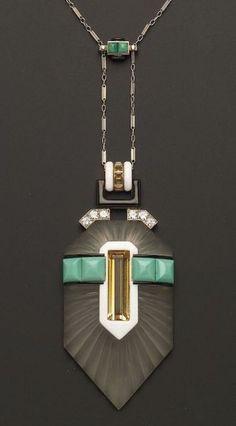 Art Deco Platinum, Rock Crystal and Gem-set Pendant Necklace