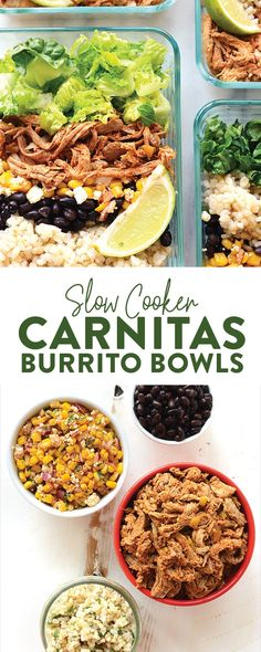 Take an hour out of your day to prep these amazing slow cooker carnitas burrito bowls! We'll show you how to make Crockpot carnitas and even throw in directions for Instant Pot carnitas so that you can make the most epic meal prep burrito bowls around town!