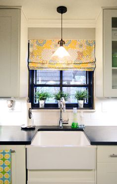 House Crashing in Cincinnati! | Young House Love /// all white and grey kitchen with fun fabric curtain to pop some colour