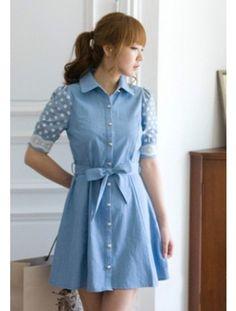 Korean Style Dot Sleeve Lapel Single-breasted Dress with Belt Blue