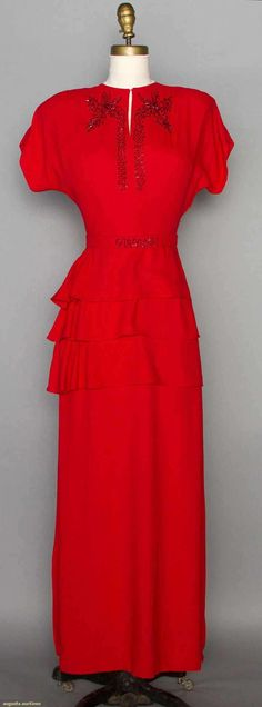 Beaded red wool crepe evening dress, 1940s.
