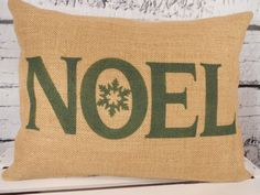 Christmas burlap pillow cover Noel with by LaRaeBoutique on Etsy