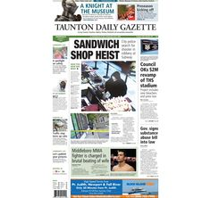The front page of the Taunton Daily Gazette for Thursday, Aug. 7, 2014.
