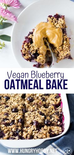 This Vegan Blueberry Oatmeal Bake is bursting with warm sweet blueberries in every comforting bite! Plus its freezer friendly and it's top 8 free so everyone can enjoy it! oatmeal bake breakfast, oatmeal bake vegan, oatmeal bake healthy, oatmeal bake breakfast healthy, blueberry oatmeal, blueberry oatmeal bake, oats, gluten free, nut free, egg free, dairy free, peanut free, soy free