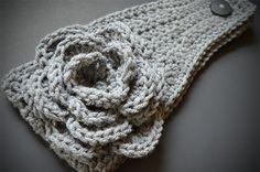 Head Wrap - All gray crochet head wrap