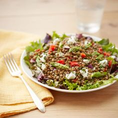 Roasted vegetables and lentils make this colorful salad into a healthy, filling meal. #myplate #protein #vegetables
