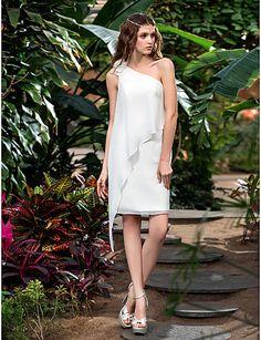 A-line One Shoulder Short/Mini Chiffon Wedding Dress (710773) - USD $ 58.99