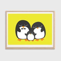 Penguin Family Poster : Modern Animal Illustration Retro Art Wall Decor Print A4 8 x 11