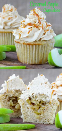 Caramel Apple Cupcakes | Cinnamon buttermilk caked sprinkled with cinnamon sugar filled with an apple compote and topped with caramel buttercream! ~American Heritage Cooking #recipe #cupcakes #caramelapple #halloween #fall #saltedcaramel