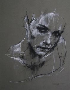 Artist: Guy Denning, charcoal and chalk {contemporary female head sketch woman face portrait drawing} <3 Despair!!