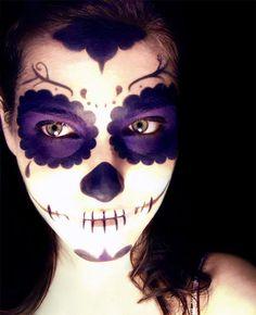 purple skull decals & makeup
