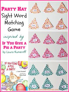 Party Hat Sight Word Matching Game Inspired by If You Give a Pig a Party by Laura Numeroff - part of the Virtual Book Club for Kids