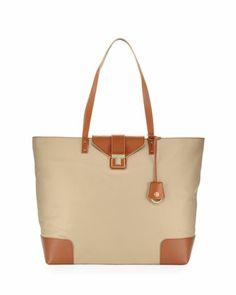 Tory Burch Penn Zip-Top Tote Bag, Mid Camel