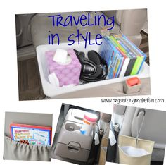 Back seat. Trash hung w luggage strap. Magnetic road game in pocket behind driver's seat. Wet Ones wipes in cup holders. pocket, vans, cups, organ life, pet, road trips, kids, roads, kid organ